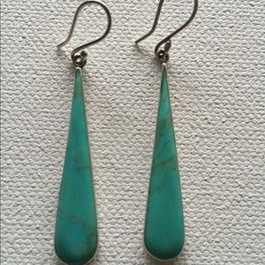 Sterling silver and turquoise drop earrings.